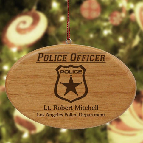 Personalized Police Officer Wooden Oval Ornament