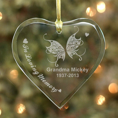 Personalized Engraved Memorial Heart Ornament