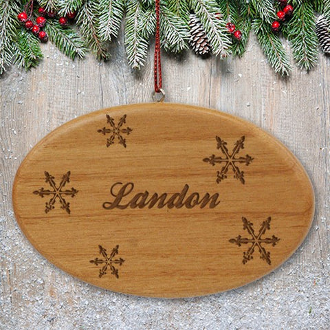 Personalized Engraved Snowflakes Wooden Oval Ornament