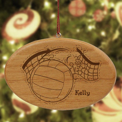 Personalized Volleyball Wooden Oval Ornament