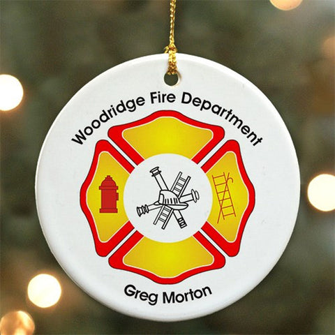 Personalized Fire Department Ceramic Ornament