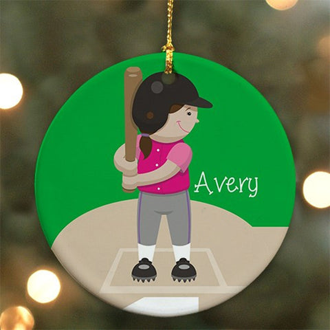 Personalized Ceramic Softball Ornament