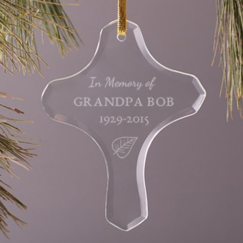 Personalized Memorial Glass Cross Ornament