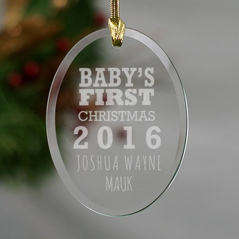 Personalized Engraved Baby's First Christmas Glass Ornament