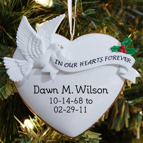 Personalized In Our Hearts Forever Memorial Ornament