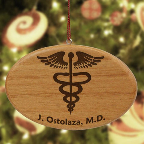Personalized Medical Wooden Oval Ornament