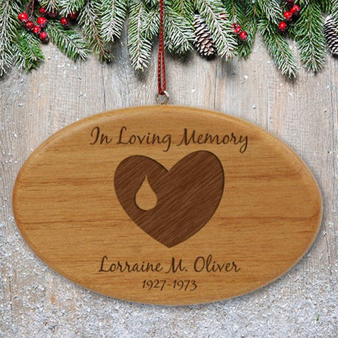 Personalized Engraved In Loving Memory Memorial Wooden Oval Ornament