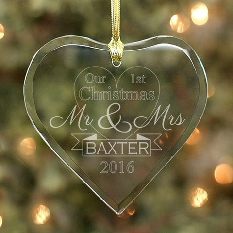 Personalized Engraved Newlyweds Glass Heart Ornament