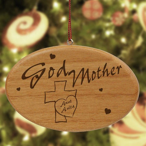 Personalized Engraved Godmother Wooden Oval Ornament