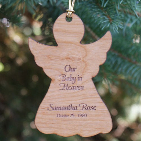 Personalized Baby In Heaven Engraved Memorial Wood Ornament