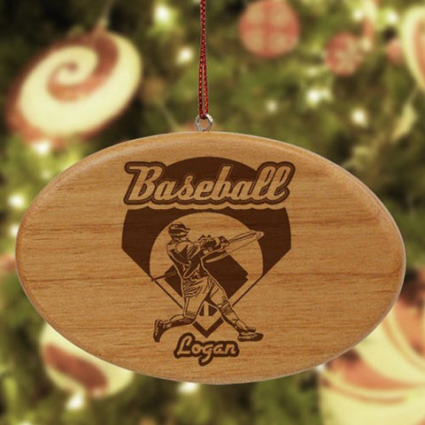 Personalized Baseball Wooden Oval Ornament