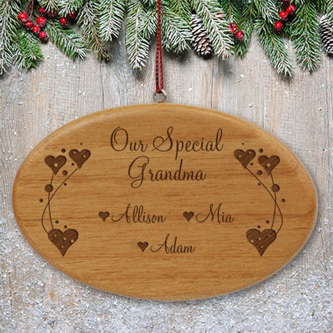 Personalized Engraved Grandma Wooden Oval Ornament