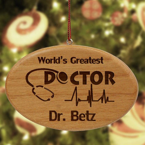 Personalized Wooden Doctor Ornament