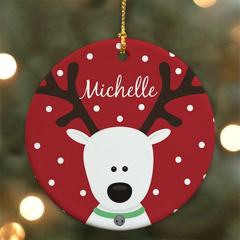 Personalized Ceramic Round Reindeer Ornament