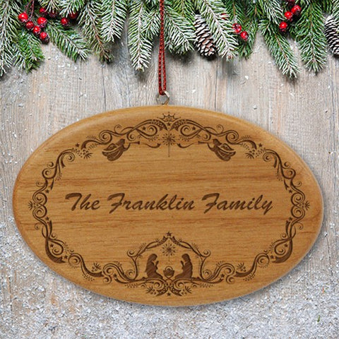 Personalized Engraved Family Nativity Christmas Wooden Oval Ornament