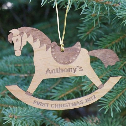 Personalized First Christmas Rocking Horse Wood Ornament