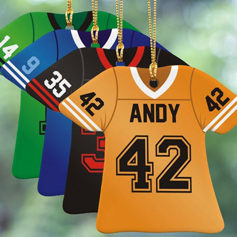 Personalized Colored Football Jersey Ornament in 4 Colors