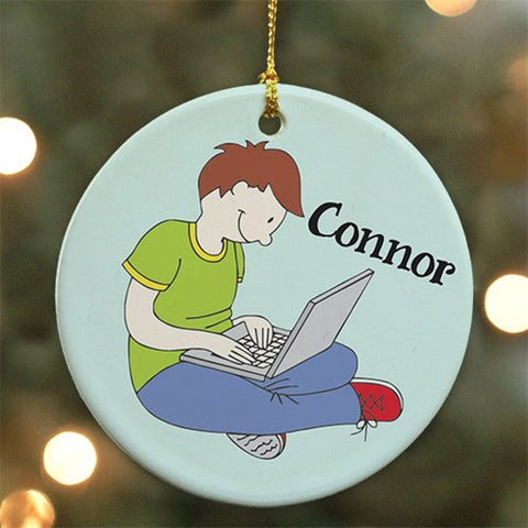 Personalized Ceramic Gamer Ornament