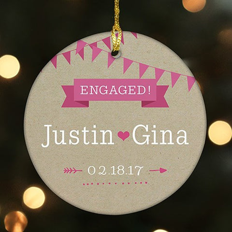Personalized Couple's Round Ceramic Ornament