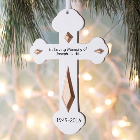 Personalized Engraved Memorial Cross Ornament