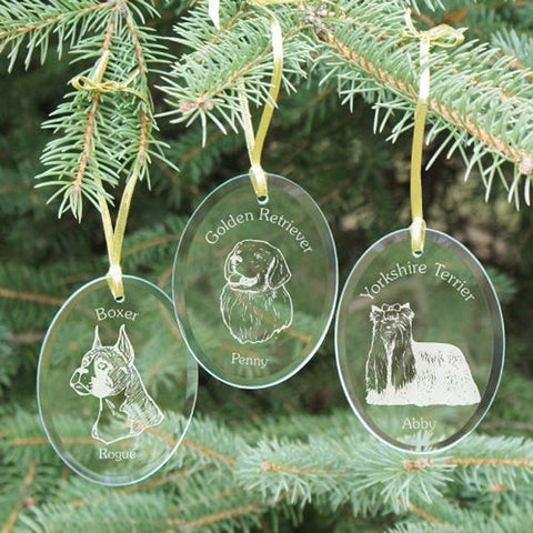 Personalized Engraved Dog Breed Glass Ornament