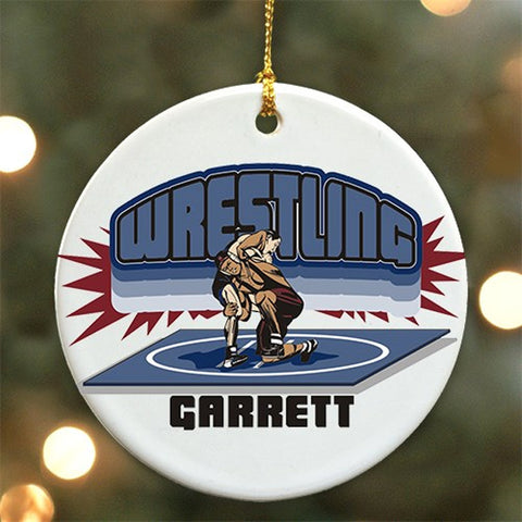 Personalized Ceramic Wrestling Ornament
