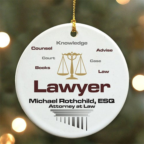 Personalized Lawyer Ceramic Ornament