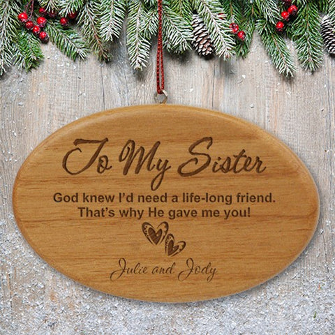 Personalized Engraved Sister Wooden Oval Ornament