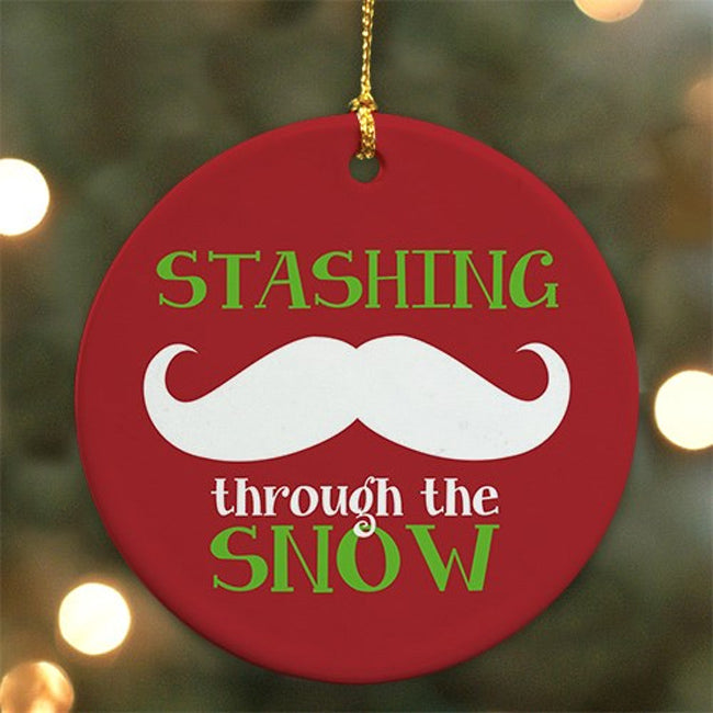 Ceramic Mustache Round Ornament