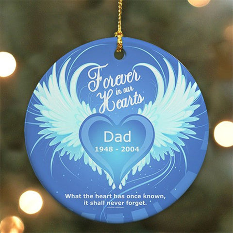 Personalized Round In Our Hearts Memorial Ceramic Ornament