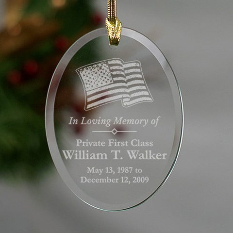 Personalized In Loving Memory Military Memorial Glass Ornament