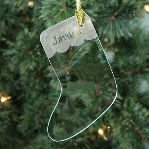 Personalized Glass Stocking Ornament