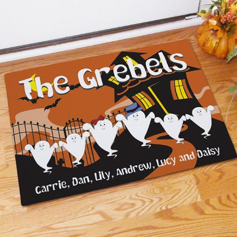 Personalized Halloween Ghost Family Welcome Doormat