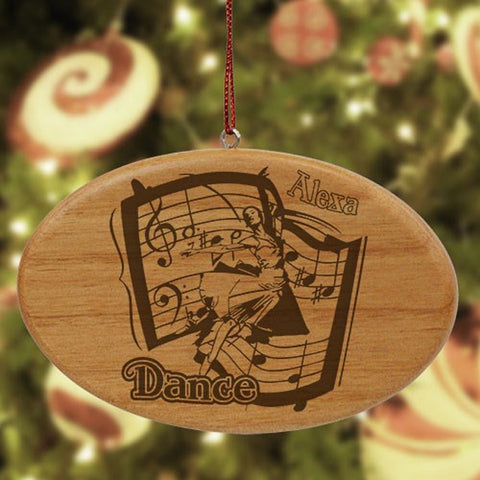 Personalized Dance Wooden Oval Ornament