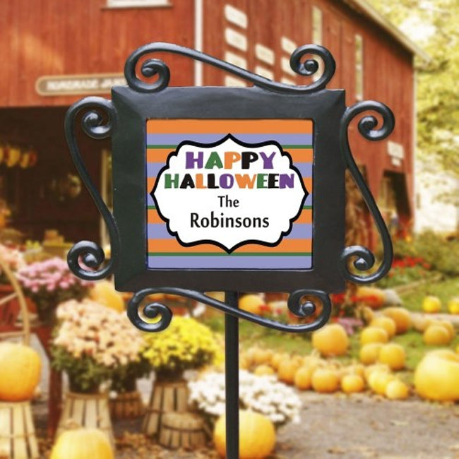 Personalized Happy Halloween Stripes Garden Stake