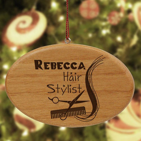 Personalized Engraved Hair Stylist Wooden Oval Ornament