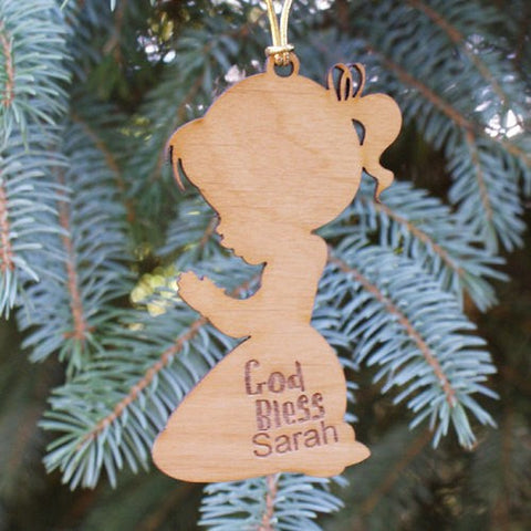 Personalized Christian Wood Ornament for Girls