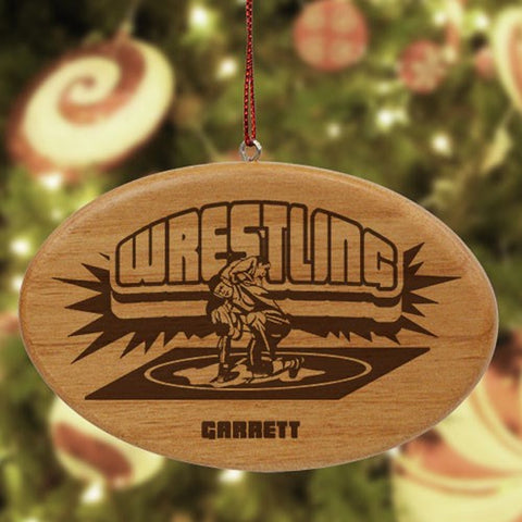 Personalized Wrestling Wooden Oval Ornament
