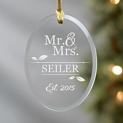 Personalized Engraved Mr. & Mrs. Oval Glass Ornament