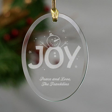 Personalized Engraved Christmas Joy Oval Glass Ornament