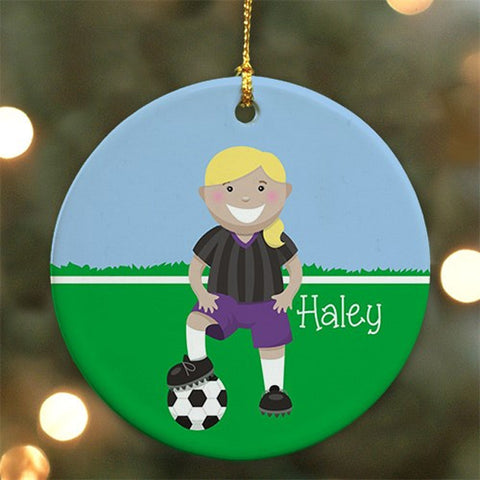 Personalized Ceramic Girl Soccer Ornament