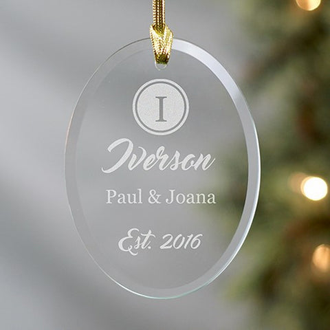 Personalized Engraved Couples Name And Initial Oval Glass Ornament