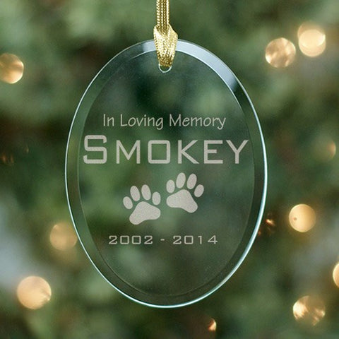 Personalized Pet Paw Print Design Memorial Glass Ornament