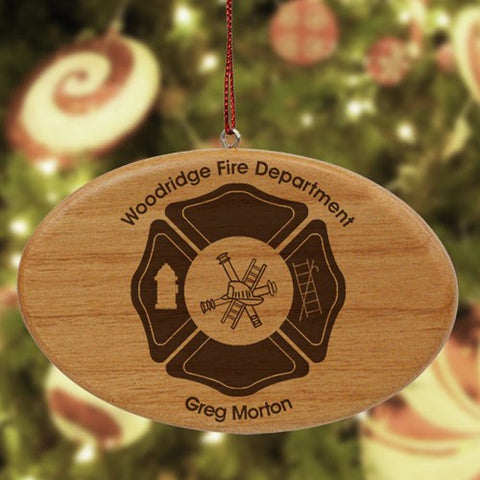 Personalized Fire Department Wooden Oval Ornament