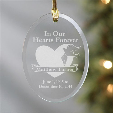 Personalized Forever in our hearts Oval Glass Ornament