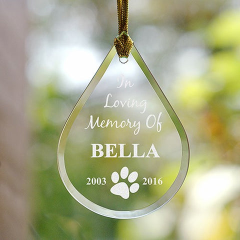 Personalized Engraved Pet Memorial Tear Drop Ornament