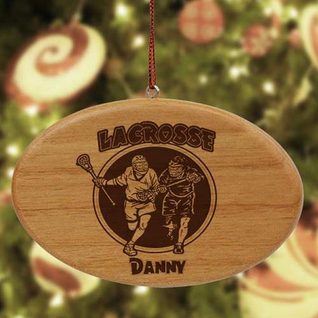 Personalized Lacrosse Wooden Oval Ornament