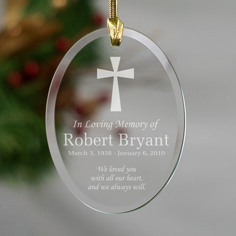 Personalized Engraved In Loving Memory Glass Ornament