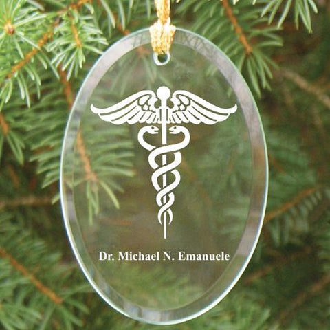 Personalized Medical Oval Glass Ornament