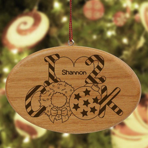 Personalized Heart to Cook Wood Oval Ornament